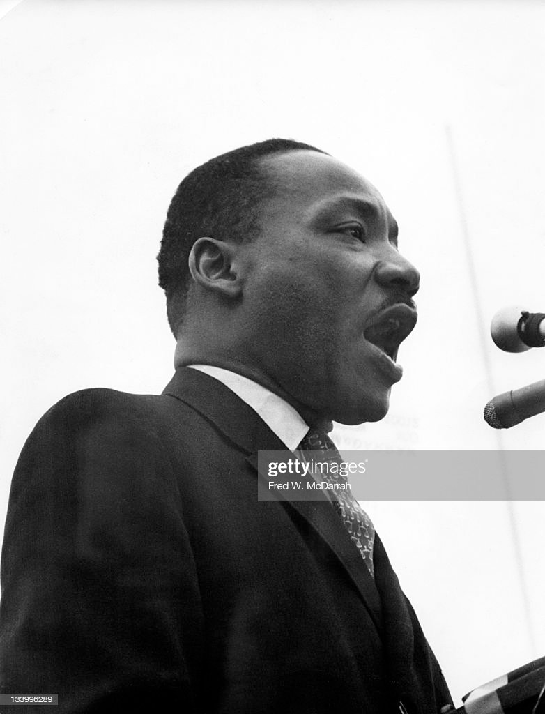 American Civil Rights leader Reverend Martin Luther King Jr. (1929 - 1968) speaks at the United Nations plaza after an anti-Vietnam war march, New York, New York, April 15, 1967. Dr. King's speech was similar to his 'Beyond Vietnam,' first delivered a few weeks earlier.