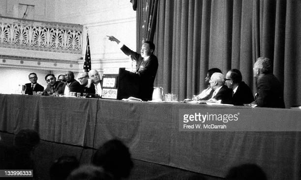 American Civil Rights leader Reverend Martin Luther King Jr speaks to the Drug Hospital and Health Care Employees UnionDistrict 1199 at the Roosevelt...