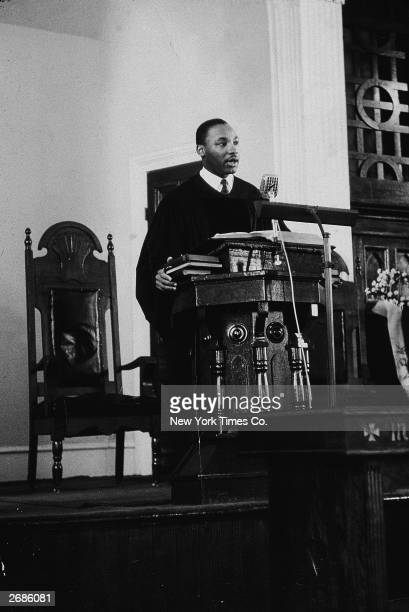 American civil rights leader the Rev Martin Luther King Jr speaks as pastor of the Dexter Avenue Baptist Church Montgomery Alabama March 20 1956