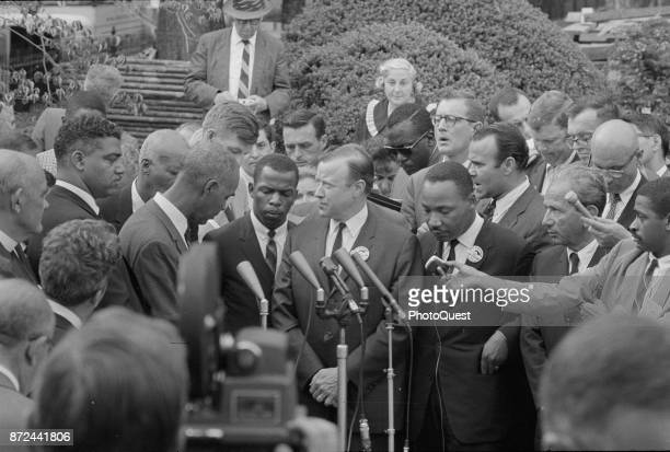 American Civil Rights leaders speak with the press following a meeting with President Kennedy after the March on Washington for Jobs and Freedom...