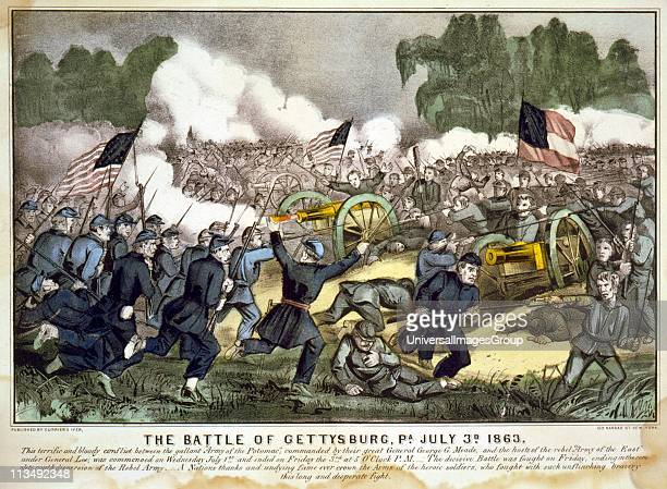 American Civil War 1861-1865: Battle of Gettysburg 1-3 July 1863 which ended Lee's invasion of the North. Union troops, bayonets fixed, charging...