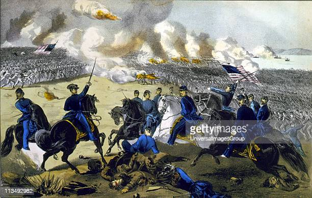 American Civil War 18611865 Battle of Pittsburgh Landing Tennessee 7 April 1862 General Ulysses Grant leading Union forces against the Confederates...