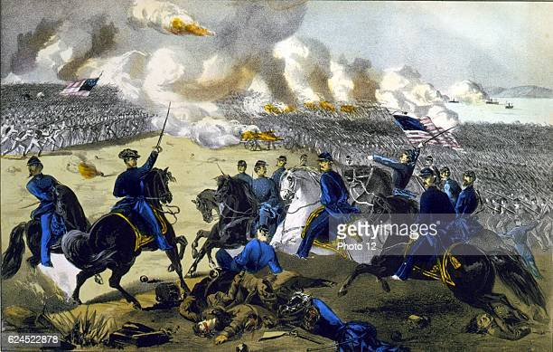 Battle of Pittsburgh Landing Tennessee 7 April 1862 General Ulysses Grant leading Union forces against the Confederates Southern Print by Currier Ives
