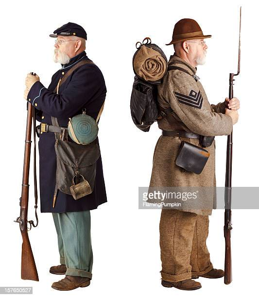 american civil war - brothers turning their back. - civil war stock pictures, royalty-free photos & images