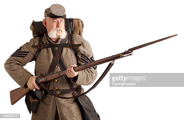 american civil war confederate soldier. - bayonet stock pictures, royalty-free photos & images