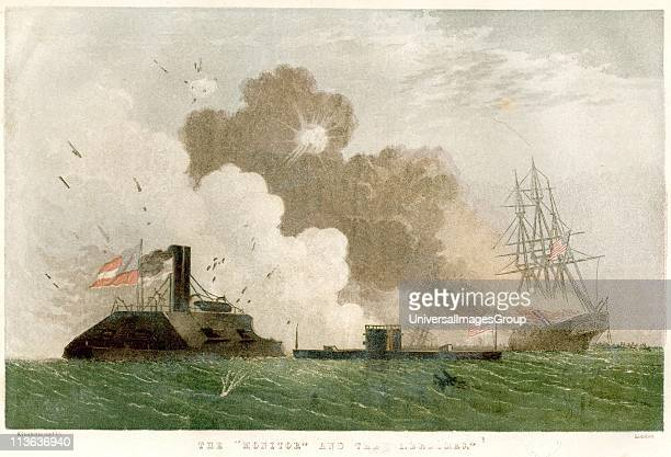 American Civil War Engagement between Confederate ironclad 'Merrimac' and Union ironclad 'Monitor' 8 March 1852 Chromolithograph published 1864