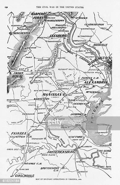 American Civil War Era Map Of Military Operations In Virginia - Us-map-civil-war-era
