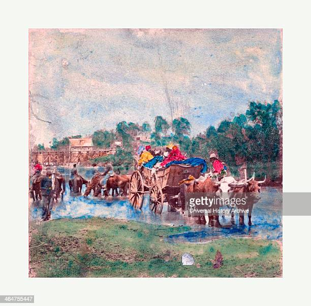Fugitive Negroes Fording Rappahannock A Group Of Union Soldiers Crossing The Rappahannock River On Horses Alongside A Wagon Carrying Slaves Photo...