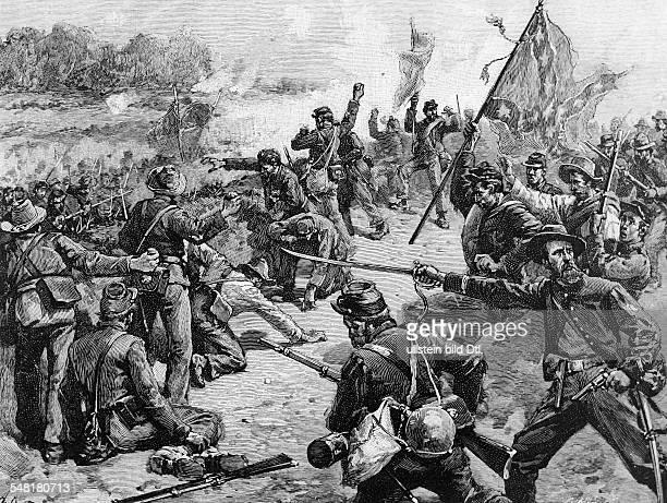 American civil war Second battle of Bull Run at Manassas Junction Virginia General Starke's brigade on an attack Contemporary wood engraving