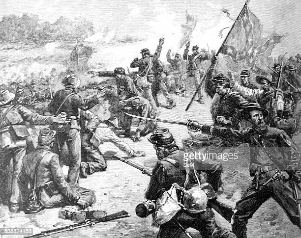 American Civil War Starke Louisiana Brigade fighting with stones at the embankment near the Deep Cut Action at the Deep Cut The Second Battle of...