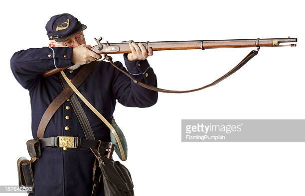 american civil war union soldier firing rifle on white. - american civil war stock pictures, royalty-free photos & images