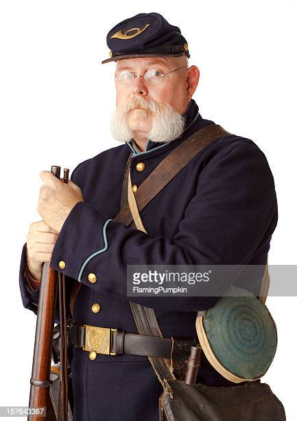 american civil war union soldier on white background. - battle of vicksburg stock pictures, royalty-free photos & images