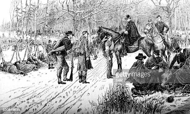 American Civil war1861 1865 The bivouac in the snow on the line battle questioning a confederate prisoner print 1870