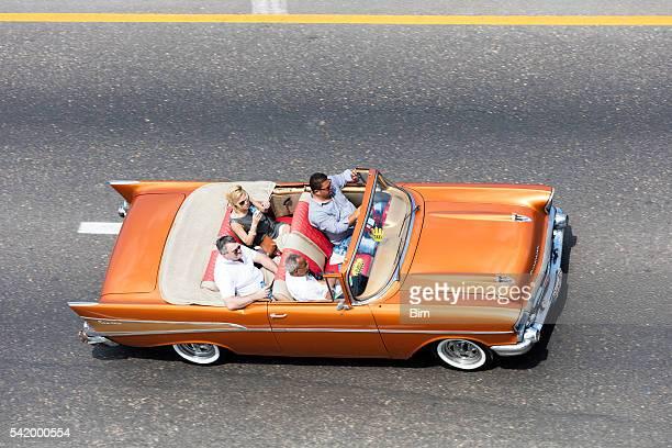 American Classic Car With Tourists, Malecon, Havana, Cuba