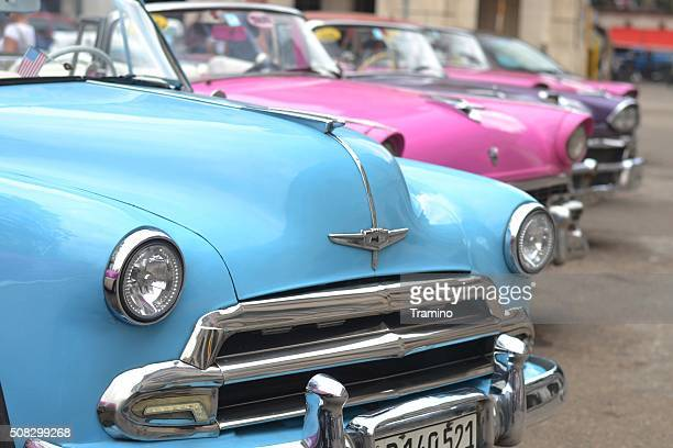 American classic cars in a row