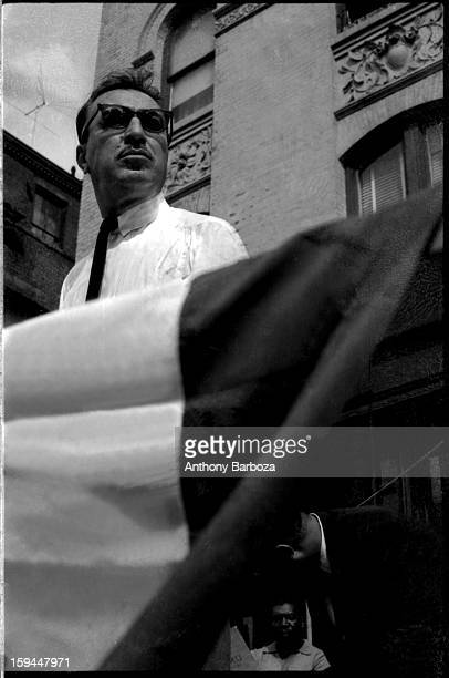 American clergyman and politician Adam Clayton Powell Jr speaks on the streets of Harlem New York New York 1964
