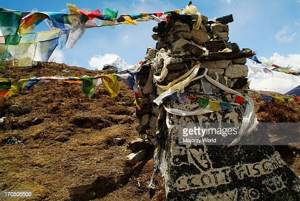 American climber Scott Fischer's memorial on Thokla Pass on the way to Everest Nepal April 25 2007