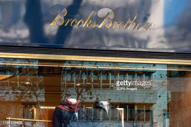 American clothing brand for men Brooks Brothers store seen in Spain