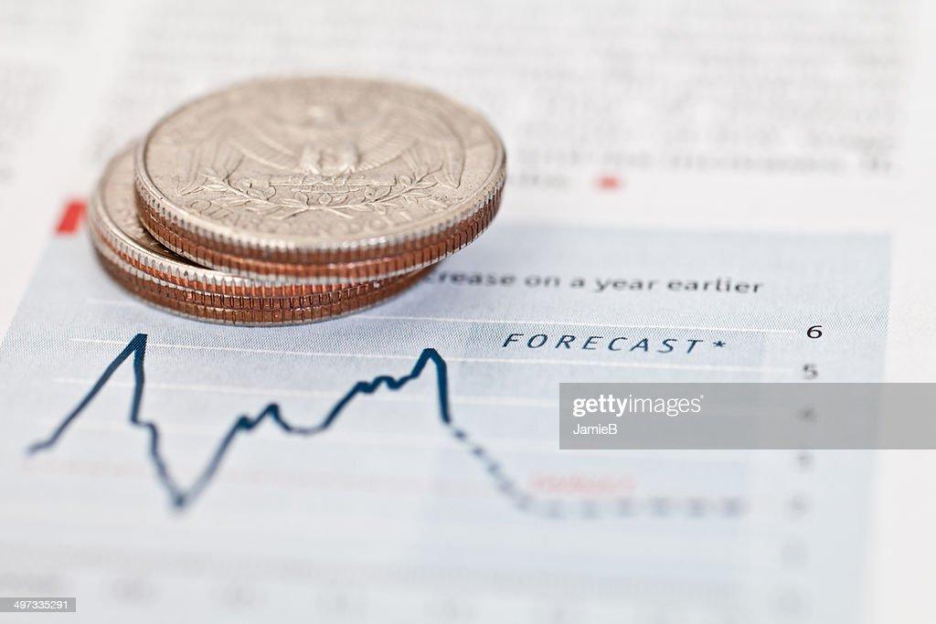 アメリカ硬貨の金融グラフ : ストックフォト