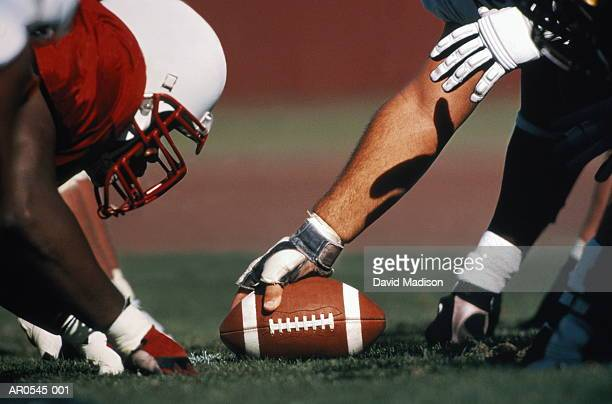american college football, line of scrimmage, close up - line of scrimmage stock pictures, royalty-free photos & images