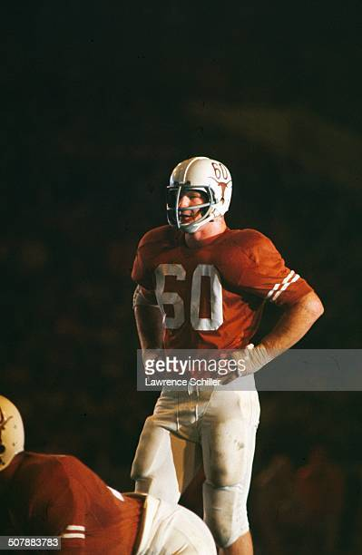 American college football player Tommy Nobis linebacker for the Texas Longhorns in action on the field 1965 This photo appear on the cover of the...