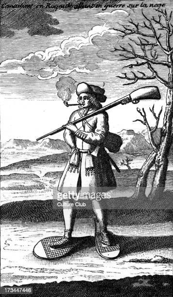 American colonies - a French Canadian. Illustration from ' Histoire de l' Amerique Septentrionale ' by Bacqueville de la Potherie, 1722.