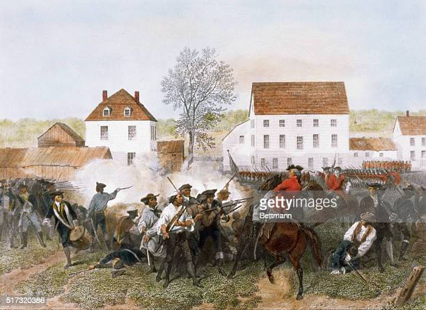 American colonists and British soldiers exchange fire at the Battle of Lexington the first skirmish int the US War of Independence