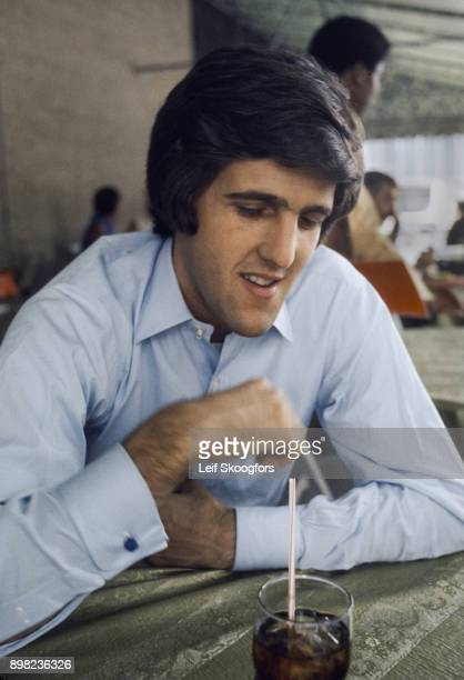 American combat veteran John Kerry sits in an unspecified restaurant Washington DC June 16 1971 Kerry was in DC on behalf of the Vietnam Veterans...