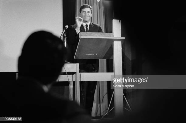 American comedian actor singer filmmaker and humanitarian Jerry Lewis giving a speech at the Royal College of Art London UK circa 1960