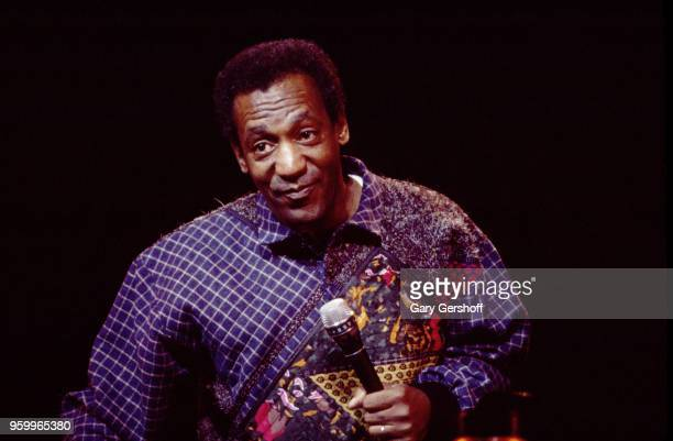 American comedian and actor Bill Cosby performs on stage at Radio City Music Hall, New York, New York, January 31, 1986.