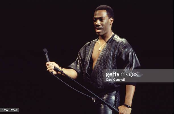 American comedian and actor Eddie Murphy performs onstage at Madison Square Garden New York New York October 13 1987