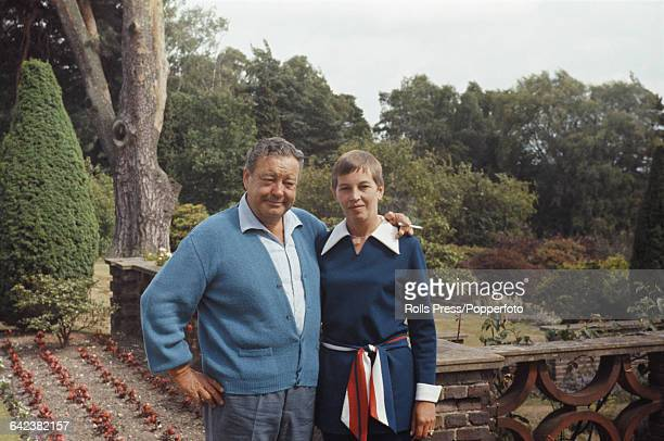 American comedian and actor Jackie Gleason pictured with his second wife Beverly McKittrick on their wedding day in Ashford England on 4th July 1970