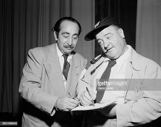American comedian and actor Lou Costello signs an autograph September 15 1948