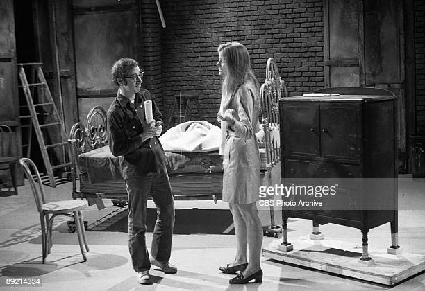 American comedian and actor Woody Allen and costar Candice Bergen rehearse a skit for 'The Woody Allen Special' on 'The Kraft Music Hall' September 7...