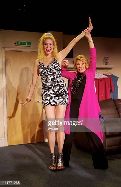 American comedian and actress Joan Rivers and Emily Kosloski take part in a photocall for the new play A Work In Progress By A Life In Progress at...
