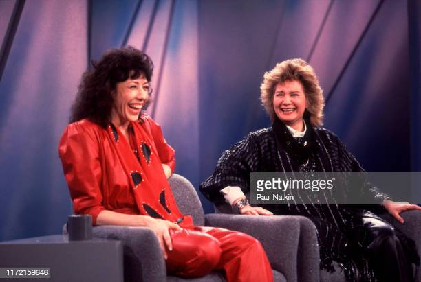American comedian and actress Lily Tomlin and her partner, writer and director Jane Wagner on an episode of the Oprah Winfrey Show, Chicago,...