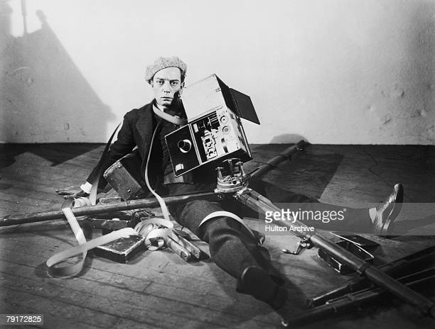 American comedian and film maker Buster Keaton in a promotional still for 'The Cameraman' directed by Edward Sedgwick 1928