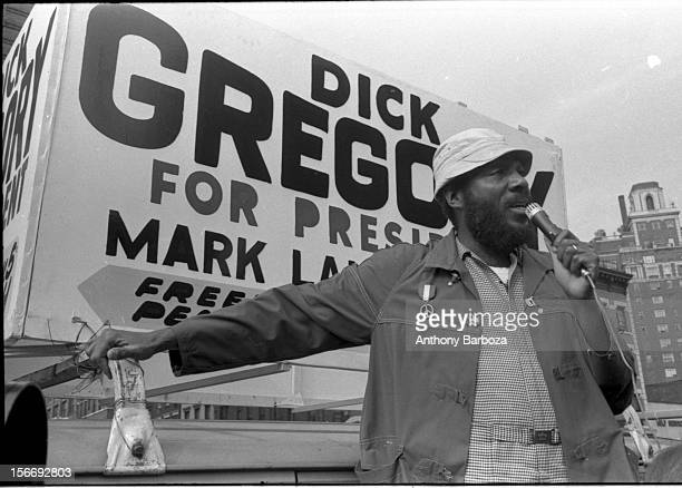 American comedian and social activist Dick Gregory campaigns for president with the Freedom Peace Party New York New York 1969
