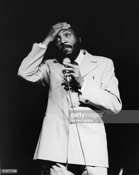 American comedian and social activist Dick Gregory performing on stage at the Village Gate night club New York New York 1969