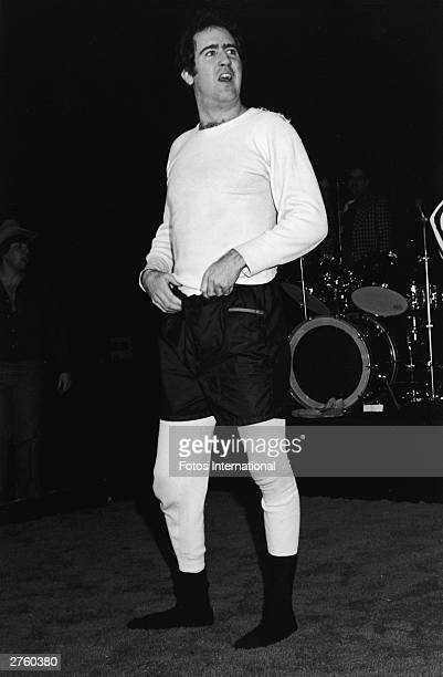 American comedian Andy Kaufman poses in his wrestling clothes at the Comedy Store on the Sunset Strip Hollywood California December 1979