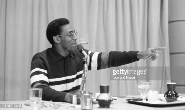American comedian Bill Cosby answers questions from Washington University students at an event sponsored by Prom Magazine circa 1967 in St Louis...
