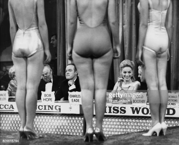 American comedian Bob Hope on the panel of judges for the Miss World beauty contest at the Lyceum in London 8th November 1962 Lady Kimberley is also...