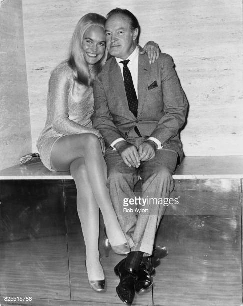 American comedian Bob Hope poses with actress Shirley Eaton at a reception at the Savoy Hotel in London 14th May 1968 Hope is in London for the...