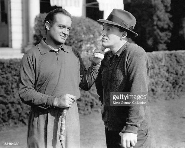 American comedian Bob Hope with American singer and actor Bing Crosby , circa 1940.
