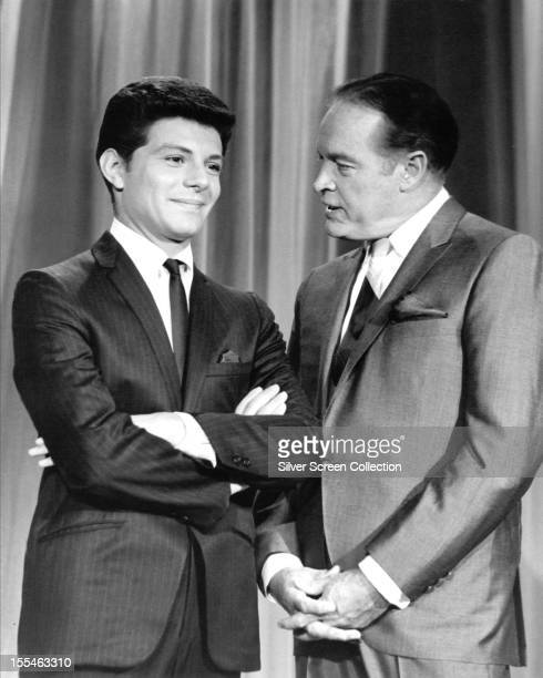 American comedian Bob Hope with his guest vocalist American singer Frankie Avalon on 'The Bob Hope Show' circa 1965