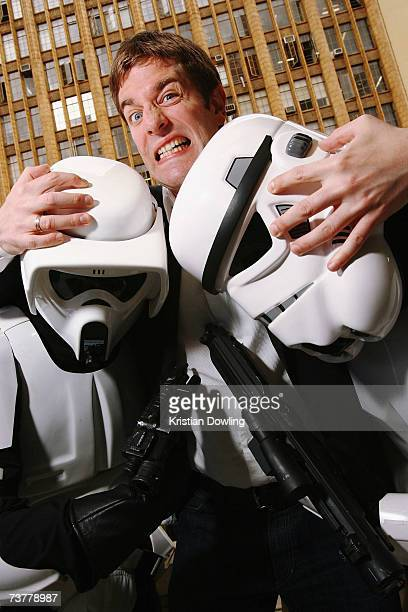 American comedian Charles Ross poses with Star Wars stormtroopers at the launch of the Melbourne International Comedy Festival at Melbourne Town Hall...