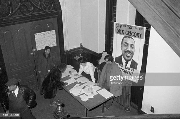 American comedian, civil rights and vegetarian activist Dick Gregory Campaigning for Presidency, 1968. Original Caption reads: 'As the campaigning...