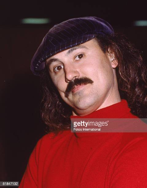 American comedian Gallagher famous for his watermelon smashing poses outside the Shrine Auditorium before the 1980 Grammy Awards Los Angeles...