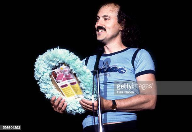 American comedian Gallagher performs at the Park West Chicago Illinois July 18 1982