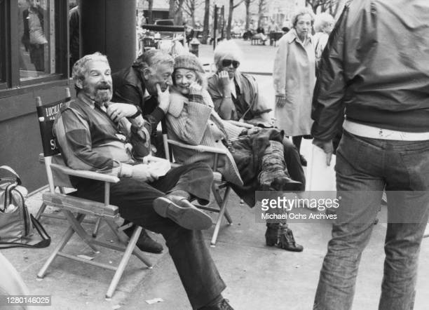 American comedian Gary Morton with his wife, American actress and comedian Lucille Ball sitting between two unidentified people, during a break on...